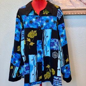 Cabrais blue & black button down shirt in size 3X